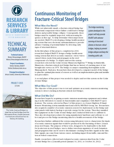 Tech Summary on monitoring of fracture-critical steel bridges
