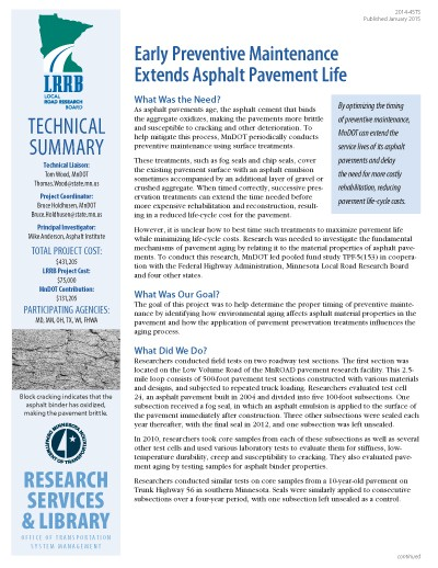 MnDOT Technical Summary: Asphalt Preventive Maintenance