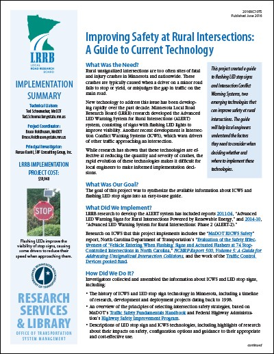 MnDOT Tech Summary: Rural intersection safety guide