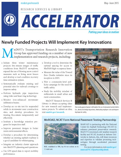 MnDOT Research Accelerator Newsletter, May-June 2015