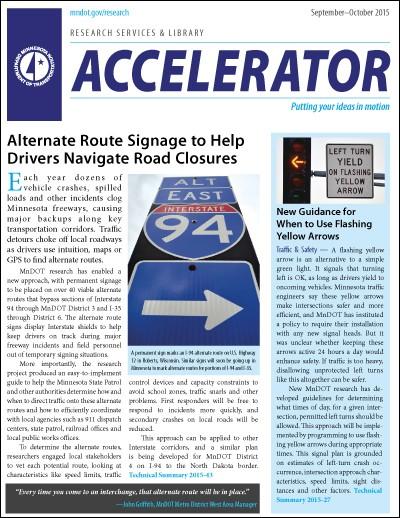 MnDOT Accelerator newsletter, Sept-Oct 2015