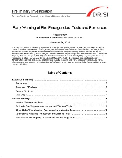 Caltrans PI: Early Warning of Fire Emergencies