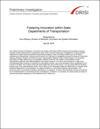 Caltrans Preliminary Investigation - Fostering Innovation within State DOTs