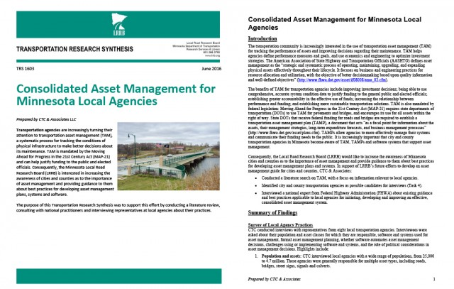 Minnesota LRRB research synthesis: Consolidated asset management