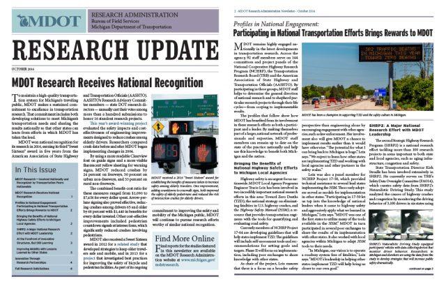 Michigan DOT Research Update newsletter
