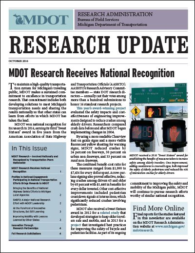 Michigan DOT Research Update newsletter