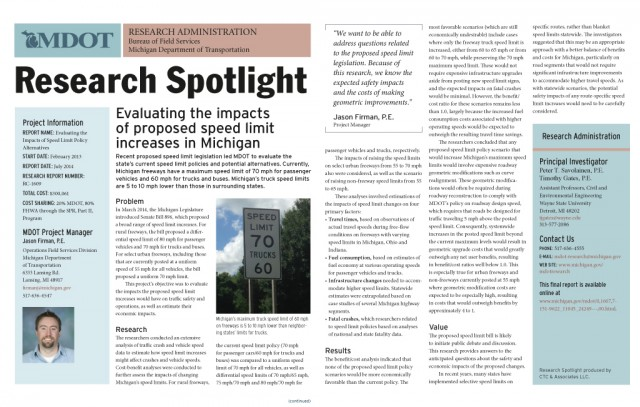 MDOT Research Spotlight—impact of speed limit increases