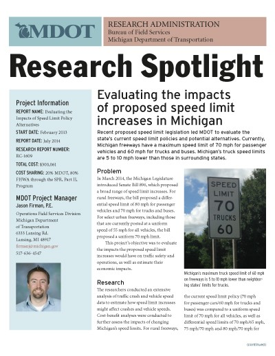 MDOT Research Spotlight -- speed limit increases