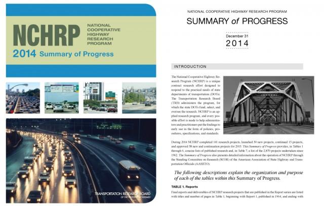 NCHRP 2014 Summary of Progress