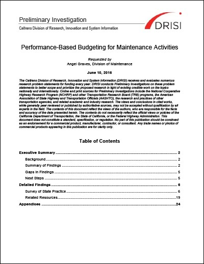 Caltrans Preliminary Investigation: Performance-Based Maintenance Budgeting