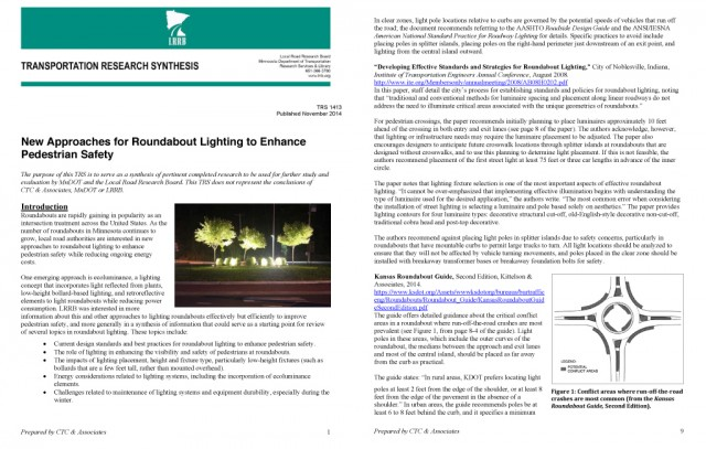 MnDOT Research Synthesis: Roundabout Lighting