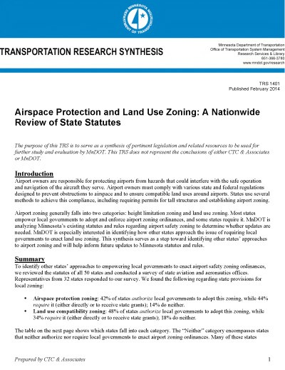 MnDOT Transportation Research Synthesis: Airport Zoning