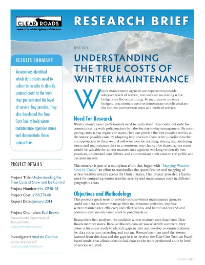 Clear Roads research brief: True Costs of Winter Maintenance