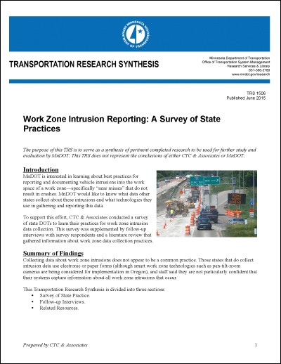 MnDOT Transportation Research Synthesis: Work Zone Intrusions